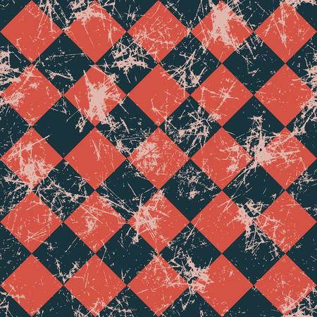 attrition: Seamless vector pattern. Creative geometric checkered black and red background with rhombus. Texture with attrition, cracks and ambrosia. Old style vintage design. Graphic illustration. Illustration