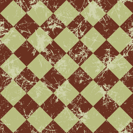 attrition: Seamless vector pattern. Creative geometric checkered brown background with rhombus. Texture with attrition, cracks and ambrosia. Old style vintage design. Graphic illustration. Illustration