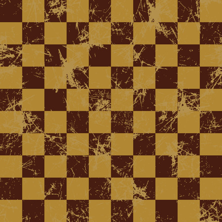 attrition: Seamless vector pattern. Creative geometric checkered brown background with squares. Texture with attrition, cracks and ambrosia. Old style vintage design. Graphic illustration.