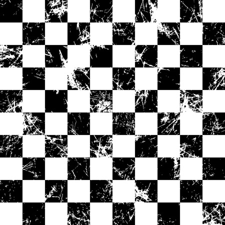attrition: Seamless vector pattern. Creative geometric checkered black and white background with squares. Texture with attrition, cracks and ambrosia. Old style vintage design. Graphic illustration. Illustration