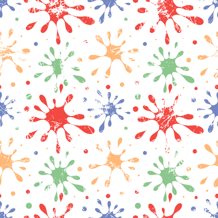 attrition: Seamless vector drawn pattern. Creative colorful background with blots. Texture with attrition, cracks. Graphic illustration.