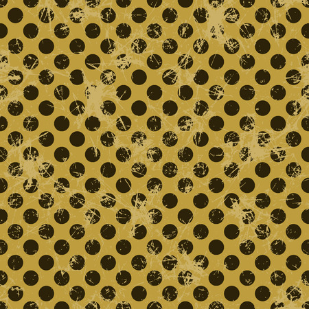 attrition: Seamless vector dotted pattern. Creative geometric brown background with circles. Grunge texture with attrition, cracks and ambrosia. Old style vintage design. Graphic illustration.