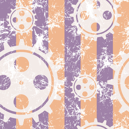 attrition: Vector seamless patterns with mechanism of watch. Creative geometric pastel blue, yellow grunge backgrounds with gear wheel.Texture with cracks, ambrosia, scratches, attrition. Graphic illustration.