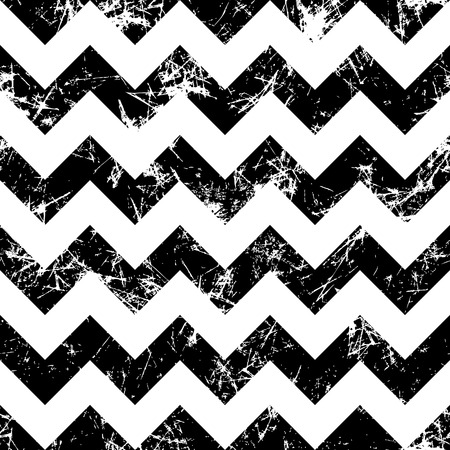 crankle: Seamless vector pattern. Creative geometric black and white background with zigzag. Grunge texture with attrition, cracks and ambrosia. Old style vintage design. Graphic illustration.