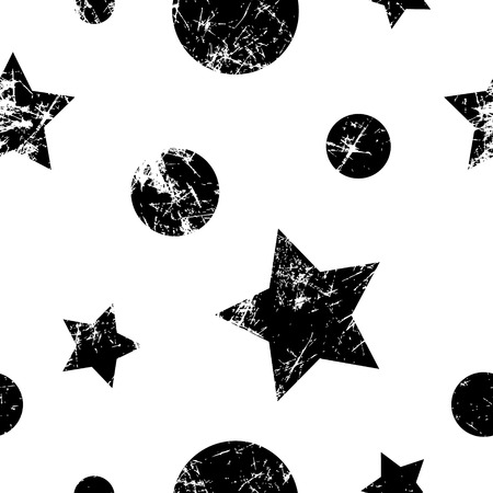attrition: Seamless vector pattern. Creative geometric black and white background with stars and circles. Grunge texture with attrition, cracks and ambrosia. Old style vintage design. Graphic illustration.