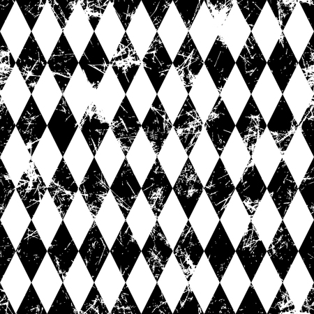 attrition: Seamless vector pattern. Creative geometric black and white background with rhombus. Grunge texture with attrition, cracks and ambrosia. Old style vintage design. Graphic illustration. Illustration