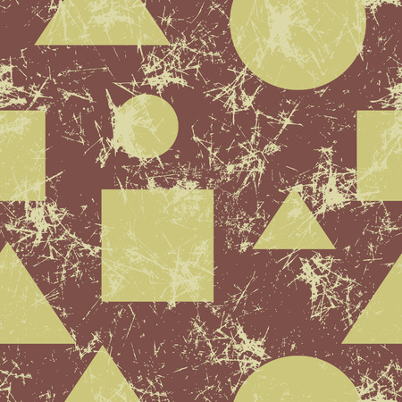 attrition: Seamless vector pattern. Creative geometric brown background with geometric figures. Grunge texture with attrition, cracks and ambrosia. Old style vintage design. Graphic illustration.