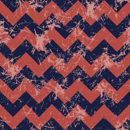 crankle: Seamless vector pattern. Creative geometric blue and red background with zigzag. Grunge texture with attrition, cracks and ambrosia. Old style vintage design. Graphic illustration.