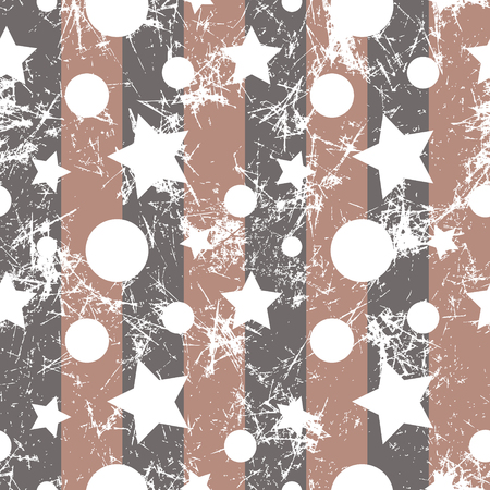 attrition: Seamless vector pattern. Creative geometric beige background with stars and circles. Grunge texture with attrition, cracks and ambrosia. Old style artistic vintage design. Graphic illustration.