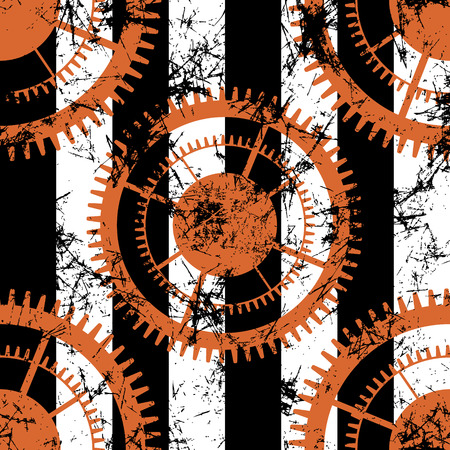 attrition: Vector seamless patterns with mechanism of watch. Creative geometric black, white, red grunge backgrounds with gear wheel. Texture with cracks, ambrosia, scratches, attrition. Graphic illustration.