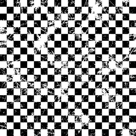 attrition: Seamless vector pattern.Creative geometric black and white checkered brown background with squares.Grunge texture with attrition, cracks and ambrosia. Old style vintage design. Graphic illustration.