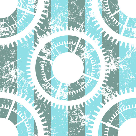 attrition: Vector seamless patterns with mechanism of watch. Creative geometric blue, white grunge backgrounds with gear wheel. Texture with cracks, ambrosia, scratches, attrition. Graphic illustration.