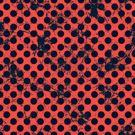 Seamless vector dotted pattern. Creative geometric red and black background with circles. Grunge texture with attrition, cracks and ambrosia. Old style vintage design. Graphic illustration.