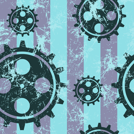 attrition: Vector seamless patterns with mechanism of watch. Creative geometric blue grunge backgrounds with gear wheel. Texture with cracks, ambrosia, scratches, attrition. Graphic illustration.