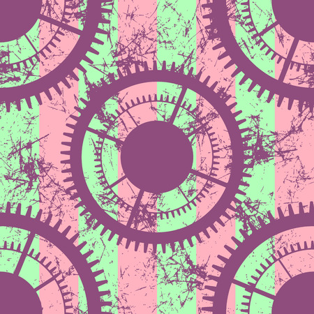 attrition: Vector seamless patterns with mechanism of watch. Creative geometric colorful grunge backgrounds with gear wheel. Texture with cracks, ambrosia, scratches, attrition. Graphic illustration.