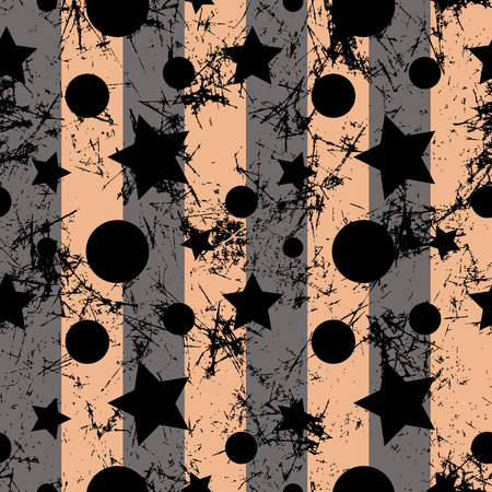 attrition: Seamless vector pattern. Creative geometric brown background with stars and circles. Grunge texture with attrition, cracks and ambrosia. Old style artistic vintage design. Graphic illustration. Illustration