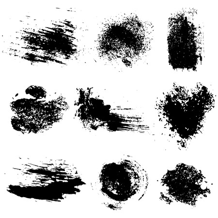 Vector set of black inc blots and brush strokes, isolated on the white background. Series of elements for design.