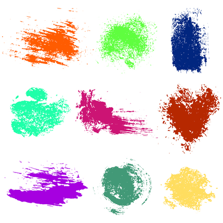 Vector set of colorful watercolor blots and brush strokes, isolated on the white background. Series of elements for design. Illustration