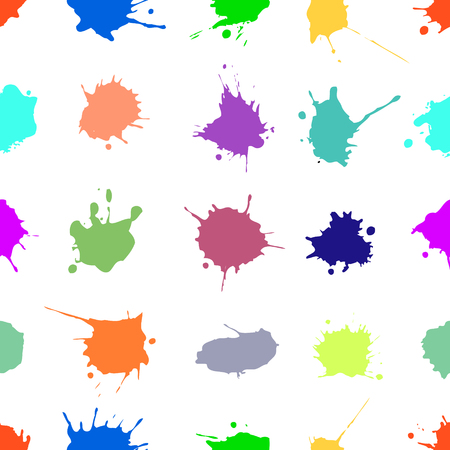 Vector seamless pattern with ink blots and brush strokes. Colorful creative artistic background Series of Drawn Creative Seamless Patterns and vector  Blots, Brush, Strokes. Illustration