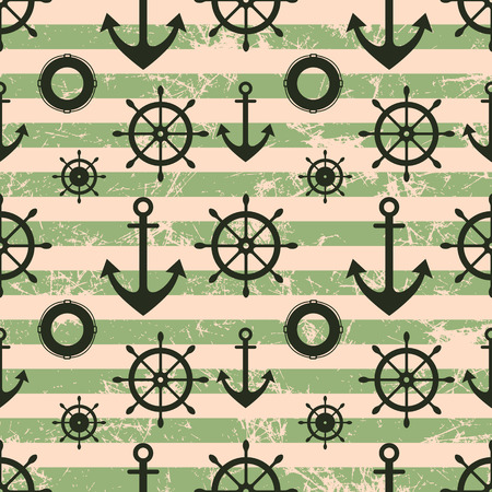 life preserver: Vector seamless pattern. Steering wheel, life preserver, anchor. Creative geometric green grunge background, nautical theme.Texture with cracks, ambrosia, scratches, attrition. Graphic illustration.