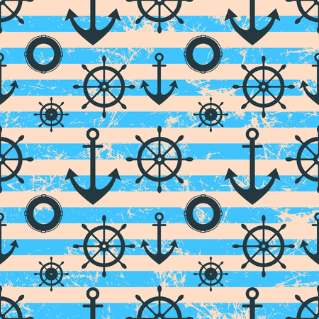 preserver: Vector seamless pattern. Steering wheel, life preserver, anchor. Creative geometric blue grunge background, nautical theme.Texture with cracks, ambrosia, scratches, attrition. Graphic illustration.