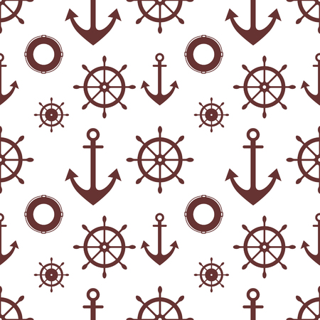 steering wheel: Vector seamless pattern. Steering wheel, life preserver, anchor. Creative geometric  background, nautical theme. Graphic illustration.