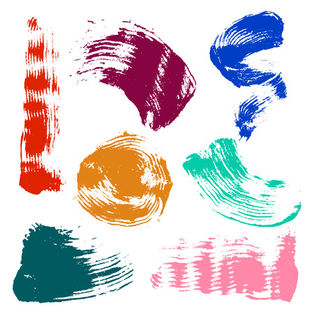 Vector set of colorful watercolor blots and brush strokes, isolated on the white background. Series of elements for design. Stock Photo