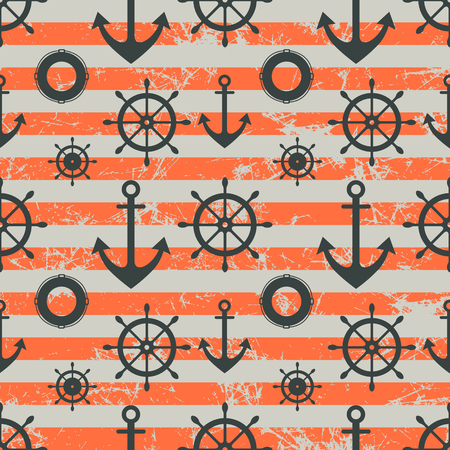 preserver: Vector seamless pattern. Steering wheel, life preserver, anchor. Creative geometric red grunge background, nautical theme.Texture with cracks, ambrosia, scratches, attrition. Graphic illustration. Stock Photo