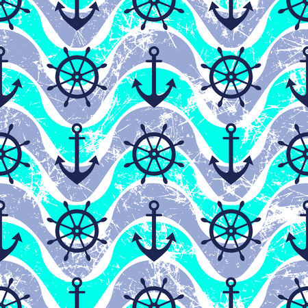 preserver: Vector seamless pattern. Steering wheel, life preserver, anchor. Creative geometric blue grunge background, nautical theme. Texture with cracks, ambrosia, scratches, attrition. Graphic illustration.