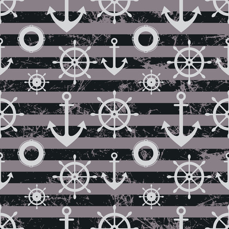 life preserver: Vector seamless pattern. Steering wheel, life preserver, anchor. Creative geometric grey grunge background, nautical theme.Texture with cracks, ambrosia, scratches, attrition. Graphic illustration.