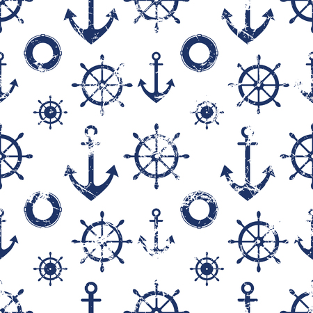 preserver: Vector seamless pattern. Steering wheel, life preserver, anchor. Creative geometric grunge background, nautical theme. Texture with cracks, ambrosia, scratches, attrition. Graphic illustration.