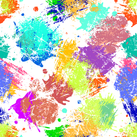 Vector seamless pattern with watercolor ink blots and brush strokes. Colorful creative artistic background Series of Drawn Creative Seamless Patterns and vector  Blots, Brush, Strokes.
