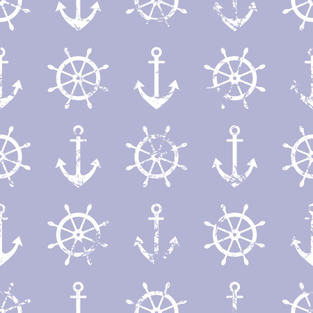 life preserver: Vector seamless pattern. Steering wheel, life preserver, anchor. Creative geometric blue grunge background, nautical theme. Texture with cracks, ambrosia, scratches, attrition. Graphic illustration.