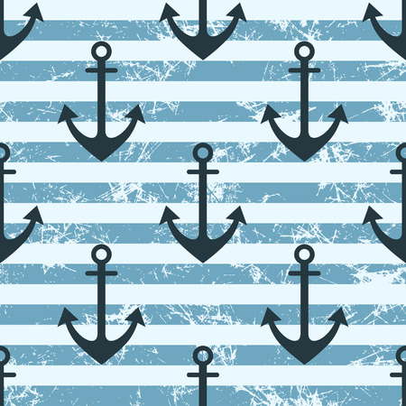attrition: Vector seamless pattern with icons of anchor. Creative geometric blue lined grunge background, nautical theme. Texture with cracks, ambrosia, scratches, attrition. Graphic illustration.
