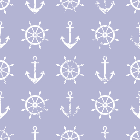 attrition: Vector seamless pattern. Steering wheel, life preserver, anchor. Creative geometric blue grunge background, nautical theme. Texture with cracks, ambrosia, scratches, attrition. Graphic illustration.