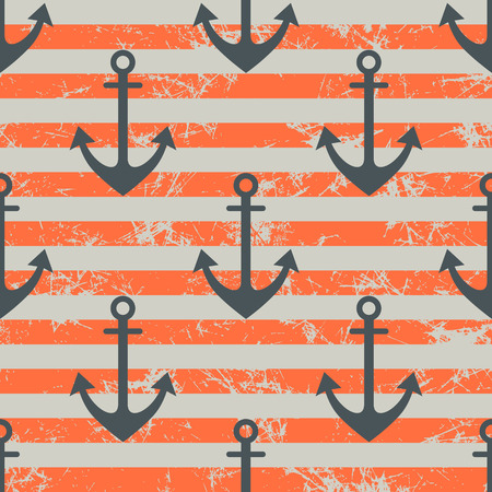 frock: Vector seamless pattern with icons of anchor. Creative geometric red lined grunge background, nautical theme. Texture with cracks, ambrosia, scratches, attrition. Graphic illustration. Illustration