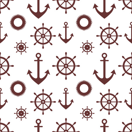 life preserver: Vector seamless pattern. Steering wheel, life preserver, anchor. Creative geometric  background, nautical theme. Graphic illustration.