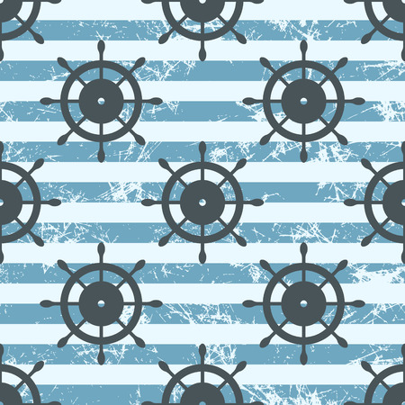 attrition: Vector seamless pattern with icons of steering wheel. Creative geometric blue grunge background, nautical theme. Texture with cracks, ambrosia, scratches, attrition. Graphic illustration. Illustration
