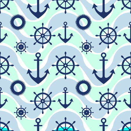 preserver: Vector seamless pattern. Steering wheel, life preserver, anchor. Creative geometric  background, nautical theme. Graphic illustration.