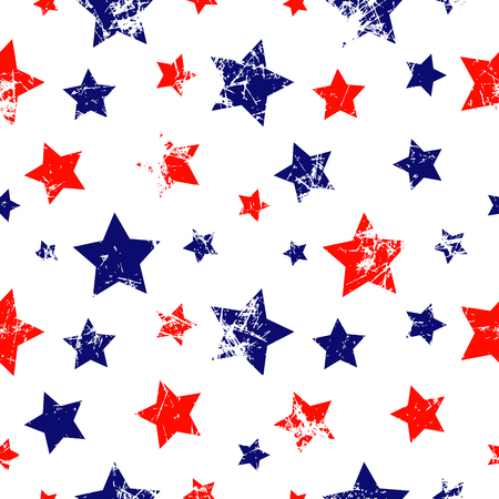 attrition: Seamless vector pattern. Creative geometric blue, red and white background with stars. Texture with attrition, cracks and ambrosia. Old style vintage design. Graphic illustration.