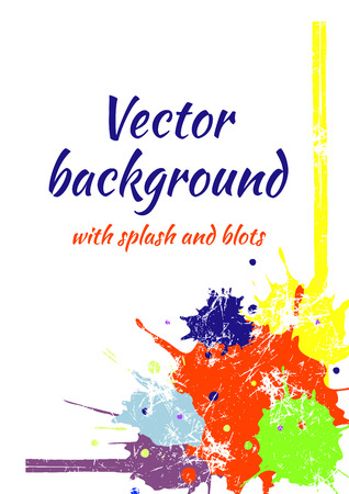 sputter: Vector watercolor background with colorful ink blots, splash and brush strokes. Colorful creative artistic template for card, layout, cover. Rainbow colors