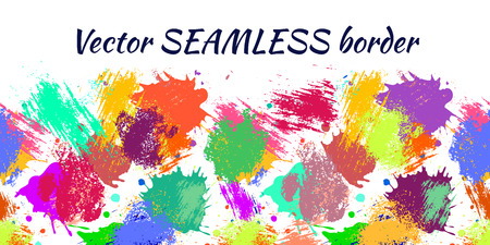 Vector seamless pattern with watercolor ink blots, splash and brush strokes. Horizontal banner, seamless border. Colorful creative artistic background. Series of Drawn Vector  Blots, Brush, Strokes.