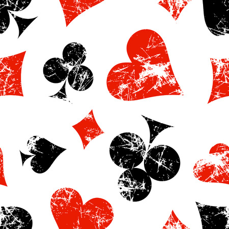 attrition: Vector seamless patterns with icons of playings cards. Creative geometric red, black, white grunge backgrounds. Texture with cracks, scratches, attrition. Series of Gaming, Gambling Seamless Patterns.