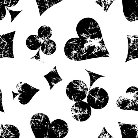attrition: Vector seamless patterns with icons of playings cards. Creative geometric black and white grunge backgrounds. Texture with cracks, scratches, attrition. Series of Gaming, Gambling Seamless Patterns.