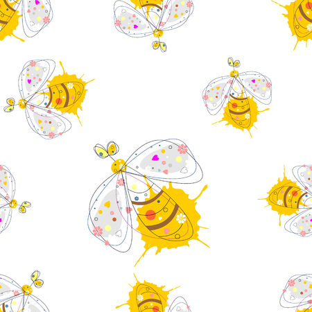 butterfly stroke: Vector seamless pattern with insect. Drawn decorative endless background with cute drawn wasp. Graphic illustration. Line drawing.