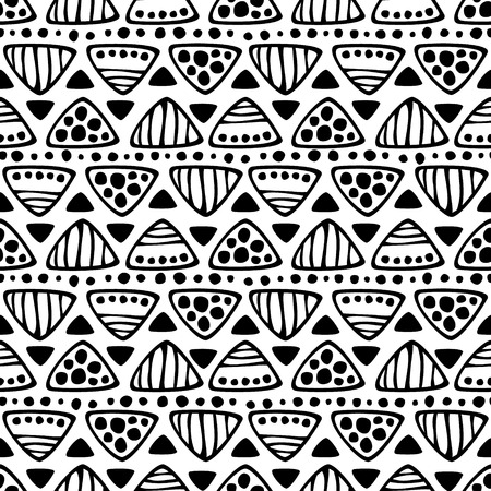 etno: Seamless vector decorative hand drawn pattern. Black and white geometric endless background with ornamental decorative elements with ethnic, traditional motives. Illustration