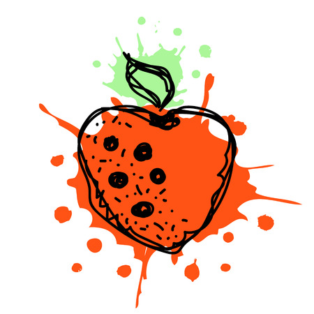 sputter: Vector hand drawn fruits illustration of strawberry with splash and drop, isolated on the white background. Line drawing, Series of Artistic, Ornamental vector Illustration.