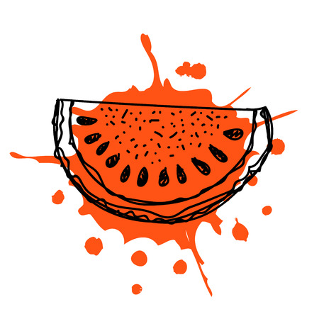 spill: Vector hand drawn fruits illustration of watermelon with splash and drop, isolated on the white background. Line drawing, Series of Artistic, Ornamental vector Illustration. Illustration