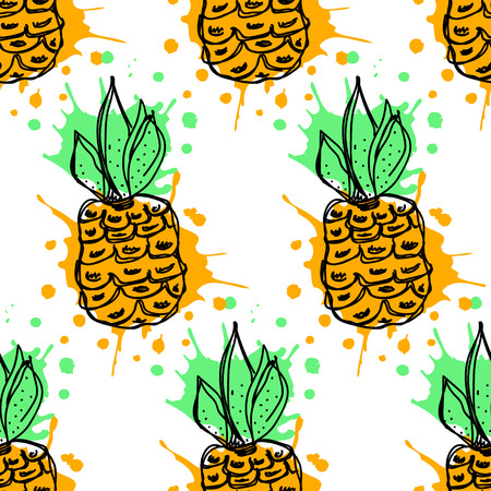 pine apple: Seamless vector pattern. Hand drawn  fruits illustration of colorful pineapple with splash and drop, on the white background. Line drawing, Series of fruits vector seamless Patterns. Illustration