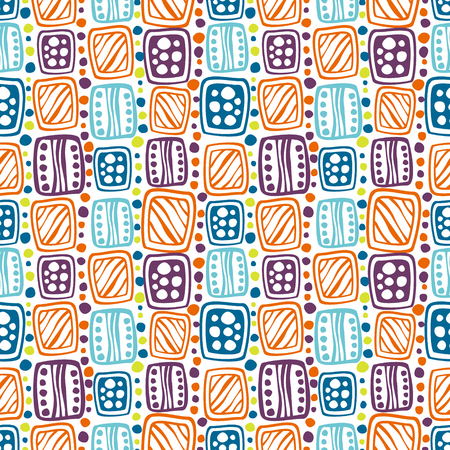 etnic: Seamless vector decorative hand drawn pattern. Black and white geometric endless background with ornamental decorative elements with ethnic, traditional motives. Illustration